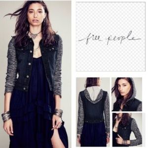Free People Denim Knit Jacket Pumice Black S